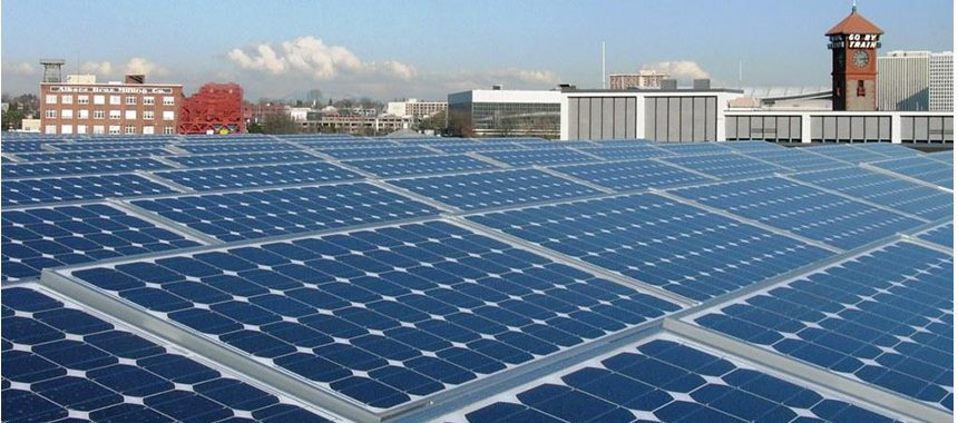 Solar array on top of the EcoTrust building in Portland, Oregon.